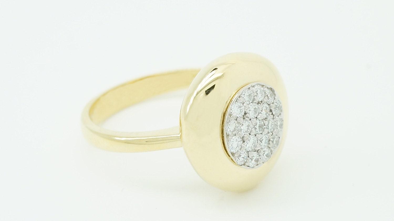 Diamond Ring-18k Yellow Gold Ring-Engagement Ring-promise ring-Halo ...