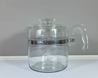 Vintage Pyrex Flameware 6 Cup percolator - Complete Glass Percolator Pot Pyrex #7756 with Stainless Band - Retro Flameware Pyrex Coffee Pot