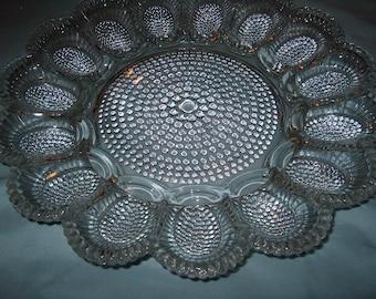 Vintage Glass Egg Plate Platter, WAS 25.00 - 50% = 12.50
