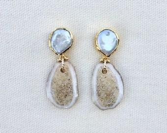 Antler Drops With Pearl Earrings