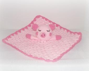 Pink Pig Blanket Lovey Pink Sleepy Crochet Pig Security Blanket Little Baby Child's Stuffed Pig Security Blanket Pink Baby Shower Child Gift