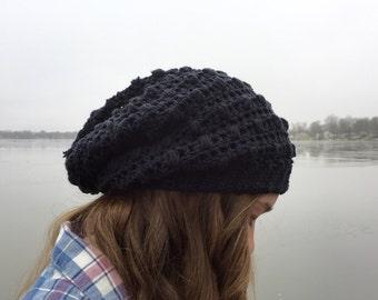 100% Cotton Black Pebbles Slouchy Beanie - black beanie - slouch hat - knit beanie - crochet Beanie - slouchy beanie - skull cap  winter hat
