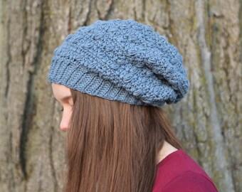 Cotton Blue Pebbles Slouchy Beanie - fall accessories - slouch hat - skull cap - slouch beanie - beanie - slouchy beanies for women -