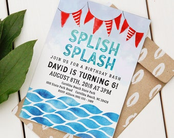 Pool Party Birthday Invitation | Custom Birthday Invite | Editable Pool Party Invitation | Beach Birthday | Water Event | Instant Download