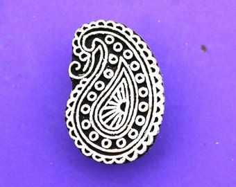 Hand Carved Paisley Clay Textile Pottery Fabric Wood Stamp Indian Printing Block