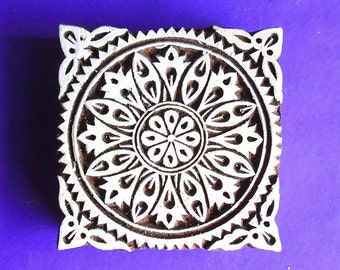 Hand Carved 4 Inch Square Wood Stamp Large Floral  Pottery Clay Textile Indian Print Block