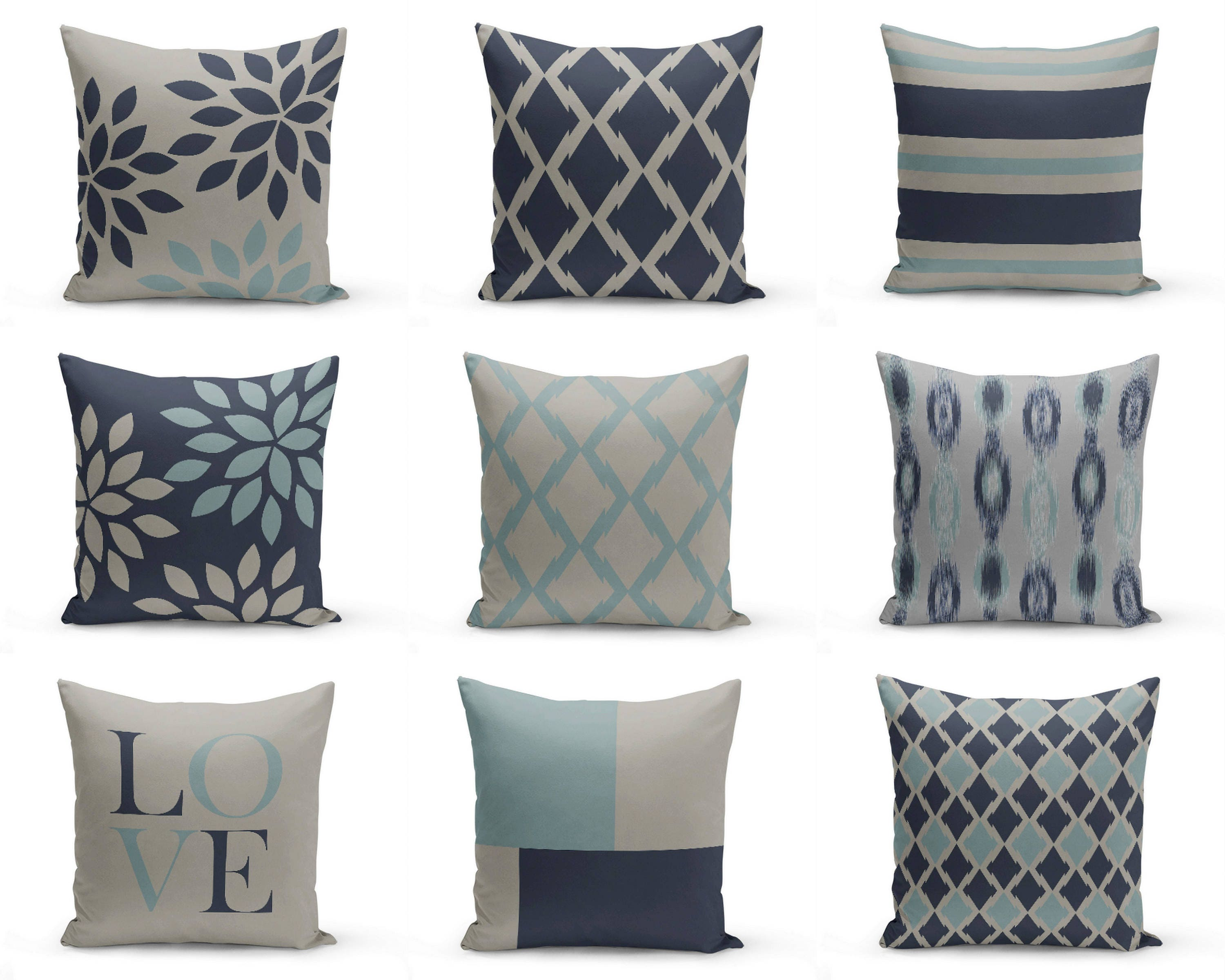 Throw Pillow Covers Navy Blue Grey 20 Cushion Covers
