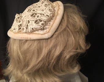 1940's 1950's bridal hat