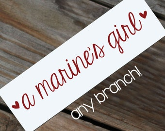 """ANY BRANCH 6"""" military girl with hearts Vinyl Decal"""