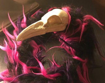 Iridescent Black and Pink Raven Skull Art Doll