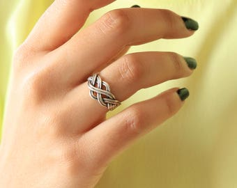 Vintage Silver Knit Ring - Sterling Silver Knit Ring - Statement Silver Ring
