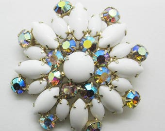 Vintage Jewelry - Rhinestone Brooch Pin - White Milk Glass Navettes - Juliana Style