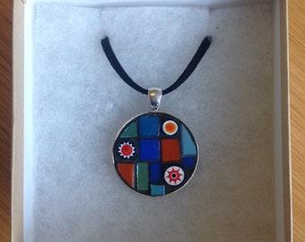 Mosaic Pendant - Blue/Orange