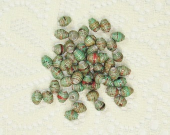 Paper Beads, Loose Handmade Supplies Itty Bitty Green Turquoise Rustic