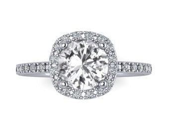 Halo Diamond White Sapphire Engagement Ring Round Cut 14K White Gold Wedding Ring,  RE00082