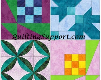 Dimensional Set 2 of 15 Inch Block Paper Template Quilting Block Pattern PDF