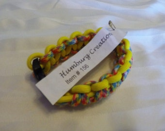 Yellow with Confetti 7 Inch Paracord Bracelet Item #156