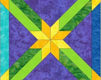 Double Sashed Hunter's Star 10 Inch Paper Piece Foundation Quilting Block Pattern PDF
