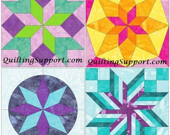 15 Inch Star Block Set of 4 Paper Piece Template Quilting Block Patterns Set 3 PDF