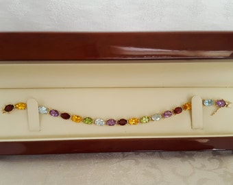 Go With Everything Multi-Gemstone Bracelet in 14k Yellow Gold -EB557