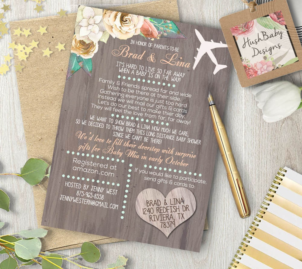 long distance neutral baby or bridal shower invitation