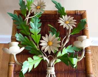 SALE...Vintage Italian Tole, Daisies/Floral, Double Arm Wall Sconce, Candleholder, Made in Italy, Shabby Chic, French Country, Cottage