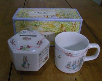 Wedgwood Peter Rabbit Mug and Money Box Christening Gift