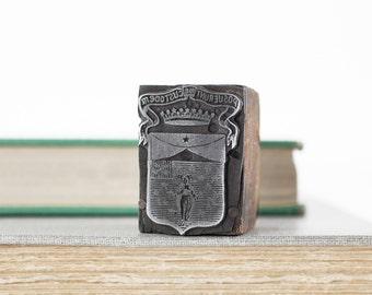 Vintage Letterpress Stamp Posuerunt Me Custodem, Print Block Stamp, Religious Statue Latin Printers Block, Antique Letterpress Block