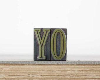 Vintage YO Letterpress Print Stamp Type Letters, Printers Block Stamp, Letterpress Wood Type