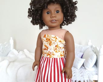 18 inch doll popcorn dress | red and white striped dress