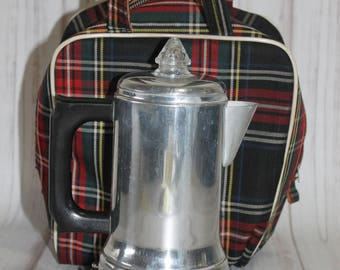 Vintage Camping Percolator, Retro Trailer, Traveling Coffee, Plaid, Silver, Coffee Maker, Electric Coffee Maker, Electric Percolator