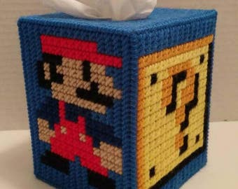 Super Mario Tissue Box Cover Plastic Canvas