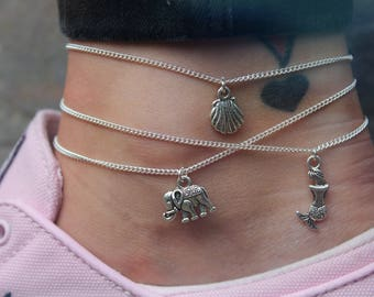Charm Anklet - Simple Layering Beach Boho Silver Chain
