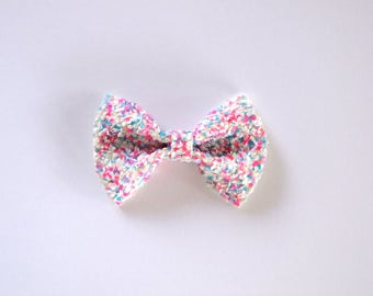 Confetti Glitter TINY Bow Clip Beautiful Little Bow for Newborn Baby Child Girl Adult Photo Prop Adorable Spring Easter Pictures Clip