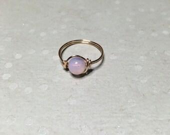 Pink opalite ring