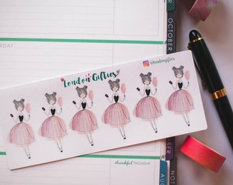 Birthday ballet girl with phone and candyfloss  - decorative watercolour fashion girl planner stickers suitable for any planner -349-