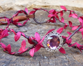 Elven crown of red branches with a bright glass . Tiara forest, medieval , Celtic diadem, Muse Suite