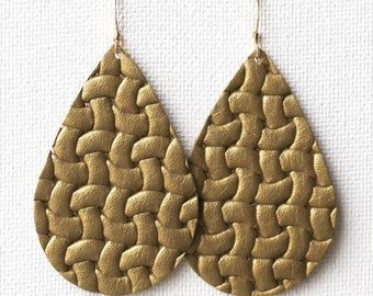 Golden Weave Leather Tear Drop Earrings