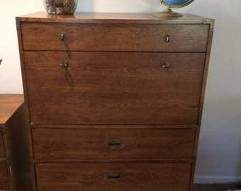 Campaign Chest of Drawers/ dresser/ natural or painted you choose/ secretary/ bar area