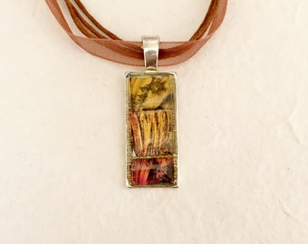 Mosaic stained glass pendant necklace gold bronze copper Van Gogh mosaic tile mirror resin