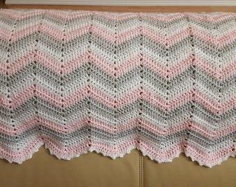 Hand Crochet Chevron Afghan, Blanket,Crochet Chevron Baby Blanket
