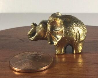 Miniature Figurine Brass Elephant Animal Metalwork Art #3