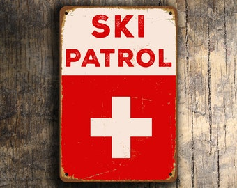 SKI PATROL SIGN, Ski Patrol Signs, Vintage style Ski Patrol sign, Ski Decor, Ski Sign, Ski Poster, Ski, Ski Signs, Skiing signs, Ski Patrol