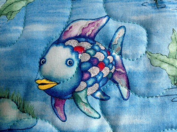 Rainbow fish pieced throw quilt 41 x 55 for Rainbow fish fabric