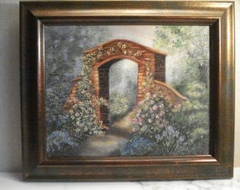 Small Oil Painting of Landscape with Archway, Signed Roche
