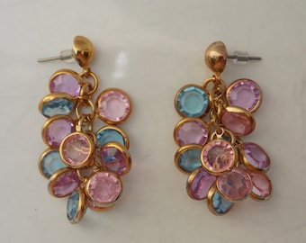 Long Dangle Cluster Earrings, Pink & Blue Gems, Lightweight, Free Shipping