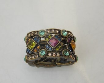 Antique Brass Colorful Stone Stretch Ring