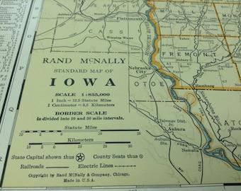 1931 Antique Map of Iowa (Des Moines, Cedar Rapids, Davenport)-Xtra Large (Commercial size-28x20.5) map w/ nice color and fine detail.
