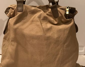 Vintage Large Sand Canvas Hobo