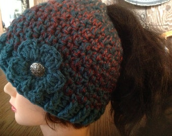 Ponytail Hat, Pony Tail Hat, messy Bun Hat, Messy Hair Hat, crochet Ponytail hat, Bun Holder